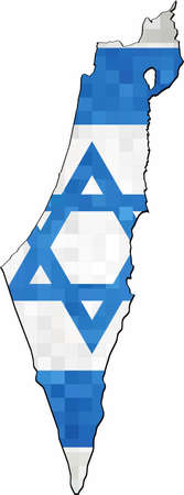 Grunge Israel map with flag inside - Illustration,  Map of Israel & Palestinian Territories on a brick wall