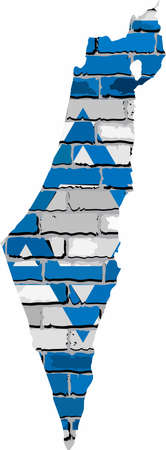 Map of Israel & Palestinian Territories on a brick wall - Illustration,   Israel map with flag inside