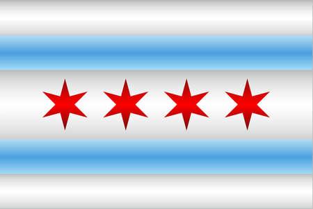 Shiny flag of the Chicago - Illustration,  Three dimensional flag of Chicago Illustration