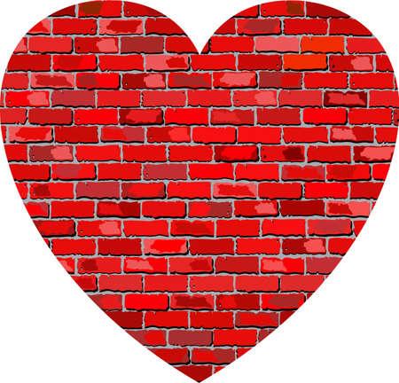 Heart on brick textured background - Illustration