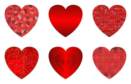Abstract grunge hearts set - Illustration,  Red heart shapes