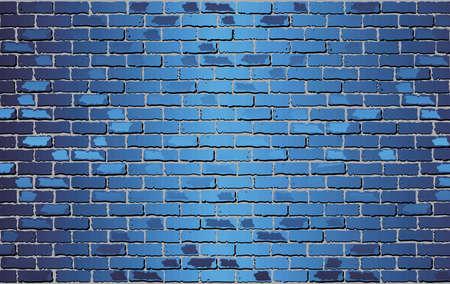 Glanzende blauwe bakstenen muur - illustratie, abstracte vectorachtergrond