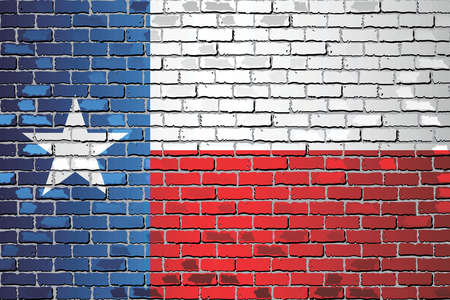 Shiny Flag of Texas on a brick wall - Illustration,  Abstract vector background