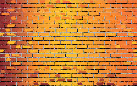 Shiny Orange brick wall - Illustration,  Abstract vector background