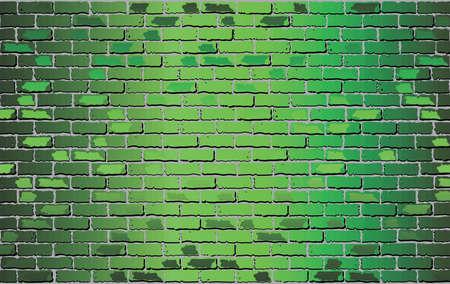 Glanzende groene bakstenen muur - illustratie, abstracte vectorachtergrond Vector Illustratie