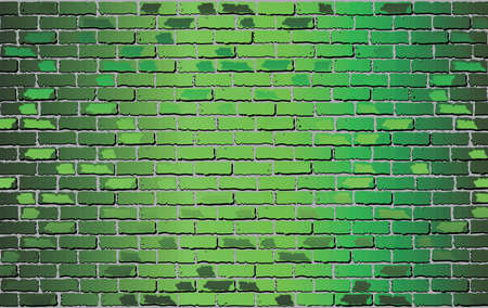 Shiny Green brick wall - Illustration,  Abstract vector background Illustration