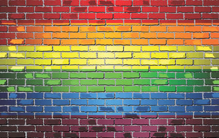 Shiny Gay pride flag on a brick wall - Illustration