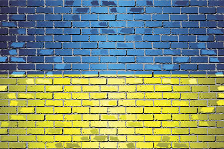 Shiny flag of Ukraine on a brick wall - Illustration, Abstract vector background Stock Illustratie