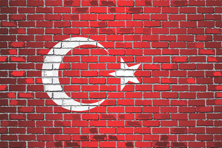 Shiny flag of Turkey on a brick wall - Illustration, Abstract vector background