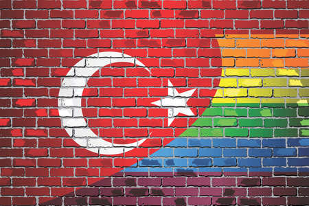 Brick Wall Turkey and Rainbow flags - Illustration Stock Illustratie