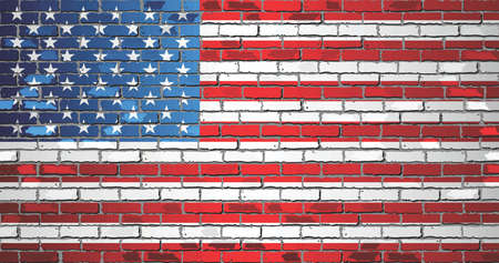 Shiny flag of USA on a brick wall - Illustration, Flag of the United States of America on a brick wall