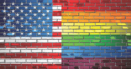 Brick Wall USA and Rainbow flags - Illustration