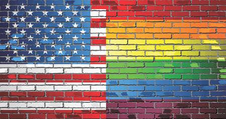 Pared de ladrillo de Estados Unidos y banderas del arco iris - Ilustración