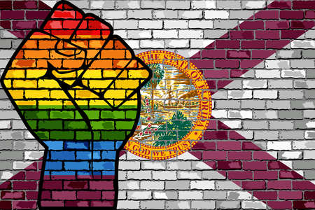 LGBT Protest Fist on a Florida brick Wall Flag - Illustration,  Brick Wall Florida and Gay flags