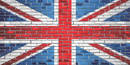 Shiny flag of Great Britain on a brick wall - Illustration, Flag of United Kingdom in brick style