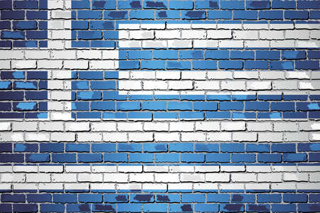 Shiny flag of Greece on a brick wall - Illustration, Abstract grunge vector background Stock Illustratie