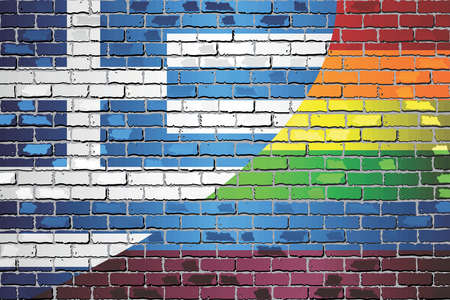 Brick Wall Greece and Rainbow flags - Illustration Stock Illustratie
