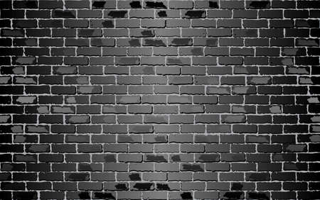 Shiny Black brick wall - Illustration,  Black abstract vector illustration