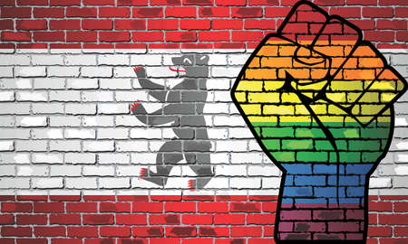 Shiny LGBT Protest Fist on a Berlin brick Wall Flag - Illustration,  Brick Wall Berlin and Gay flags 向量圖像