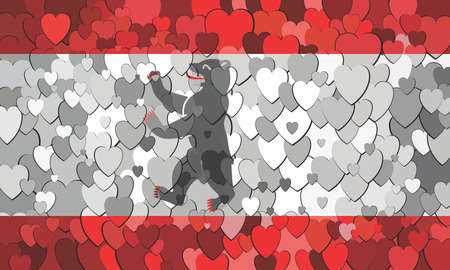 Berlin flag made of hearts background - Illustration