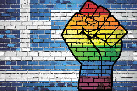 Shiny LGBT Protest Fist on a Greece brick Wall Flag - Illustration,  Brick Wall Greece and Gay flags