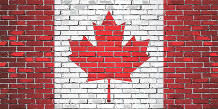 Shiny flag of Canada on a brick wall - Illustration, Abstract grunge vector background
