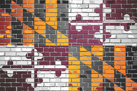 Shiny flag of Maryland on a brick wall - Illustration, Abstract grunge vector background Stock Illustratie
