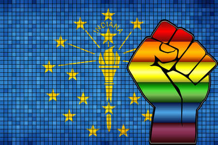 Shiny LGBT Protest Fist on a Indiana Flag - Illustration,  Abstract Mosaic Indiana and Gay flags Stock Illustratie