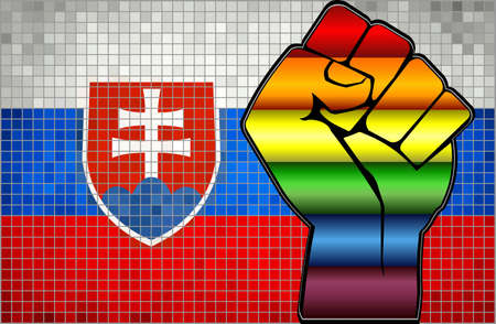 Shiny LGBT Protest Fist on a Slovakia Flag - Illustration,  Abstract Mosaic Slovakia and Gay flags