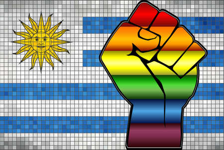 Shiny LGBT Protest Fist on a Uruguay Flag - Illustration,  Abstract Mosaic Uruguay and Gay flags Stock Illustratie