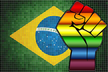 Shiny LGBT Protest Fist on a Brazil Flag - Illustration,  Abstract Mosaic Brazil and Gay flags