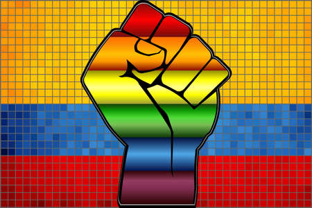 Shiny LGBT Protest Fist on a Colombia Flag - Illustration,  Abstract Mosaic Colombia and Gay flags Stock Illustratie
