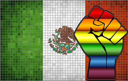 Shiny LGBT Protest Fist on a Mexico Flag - Illustration,  Abstract Mosaic Mexico and Gay flags Stock Illustratie