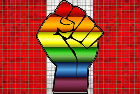 Shiny LGBT Protest Fist on a Peru Flag - Illustration,  Abstract Mosaic Peru and Gay flags Stock Illustratie