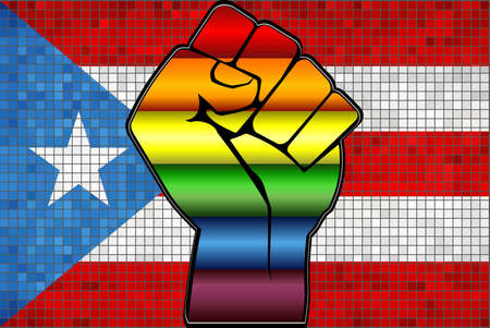 Shiny LGBT Protest Fist on a Puerto Rico Flag - Illustration,  Abstract Mosaic Puerto Rico and Gay flags Stock Illustratie