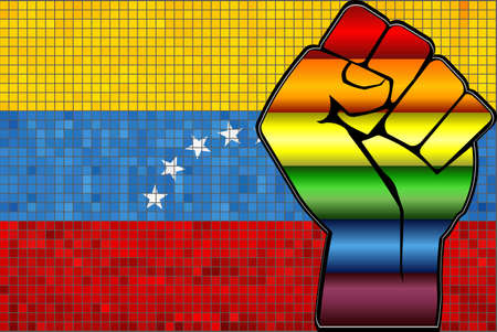 Shiny LGBT Protest Fist on a Venezuela Flag - Illustration,  Abstract Mosaic Venezuela and Gay flags