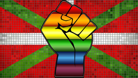 Shiny LGBT Protest Fist on a Basque Flag - Illustration,  Abstract Mosaic Basque and Gay flags Illustration