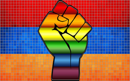 Shiny LGBT Protest Fist on a Armenia Flag - Illustration,  Abstract Mosaic Armenia and Gay flags