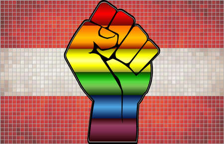 Shiny LGBT Protest Fist on a Austria Flag - Illustration,  Abstract Mosaic Austria and Gay flags Stock Illustratie