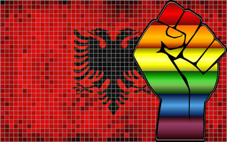 Shiny LGBT Protest Fist on a Albania Flag - Illustration,  Abstract Mosaic Albania and Gay flags Stock Illustratie