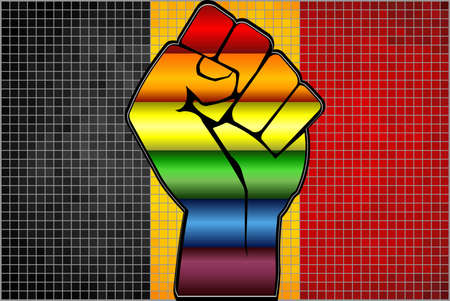 Shiny LGBT Protest Fist on a Belgium Flag - Illustration,  Abstract Mosaic Belgium and Gay flags