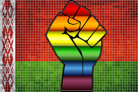 Shiny LGBT Protest Fist on a Belarus Flag - Illustration,  Abstract Mosaic Belarus and Gay flags