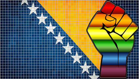Shiny LGBT Protest Fist on a Bosnia and Herzegovina Flag - Illustration,  Abstract Mosaic Bosnia and Herzegovina and Gay flags