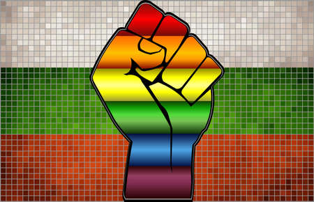 Shiny LGBT Protest Fist on a Bulgaria Flag - Illustration,  Abstract Mosaic Bulgaria and Gay flags Stock Illustratie