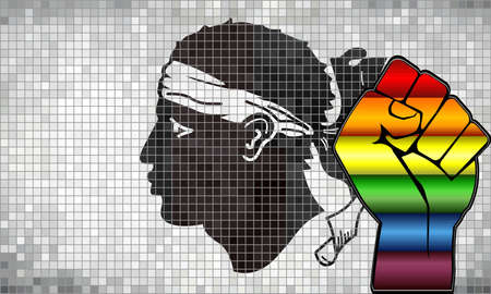 Glänzende LGBT-Protestfaust auf einer Korsika-Flagge - Illustration, abstraktes Mosaik Korsika und schwule Flaggen