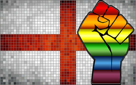 Shiny LGBT Protest Fist on a England Flag - Illustration,  Abstract Mosaic England and Gay flags