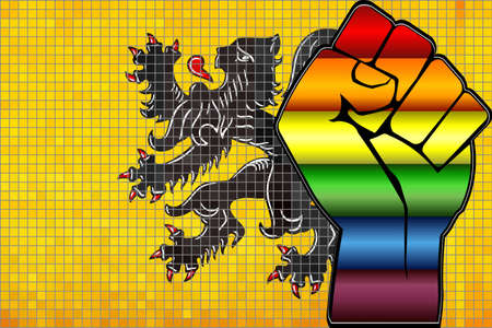Shiny LGBT Protest Fist on a Flanders Flag - Illustration,  Abstract Mosaic Flanders and Gay flags