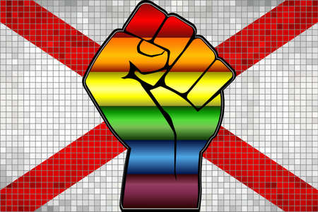 Shiny LGBT Protest Fist on a Alabama Flag - Illustration,  Abstract Mosaic Alabama and Gay flags Stock Illustratie