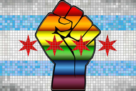 Shiny LGBT Protest Fist on a Chicago Flag - Illustration,  Abstract Mosaic Chicago and Gay flags Stock Illustratie