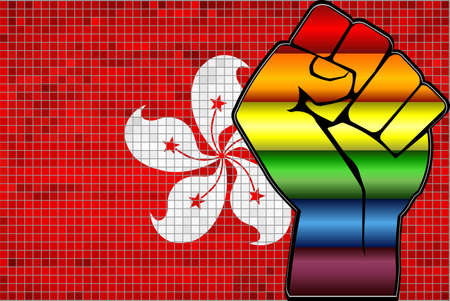 Shiny LGBT Protest Fist on a Hong Kong Flag - Illustration,  Abstract Mosaic Hong Kong and Gay flags